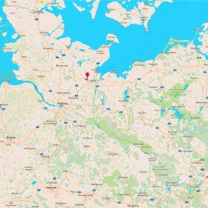 Karte mit Markierung von Stockelsdorf, der Lage vom Krumbecker Hof.